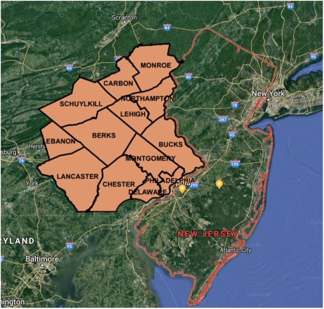PA quarantine area in relation to NJ